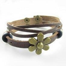 Fashion Trendy Women Leather Bracelet Flower Multilayer Women Leather Bracelets Free Shipping