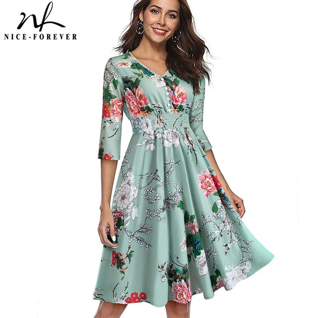 Nice-forever Women Elegant Printed Flower Pinup Elastic Waist vestidos A-Line  Business Party Flare Swing Autumn Dress A122 6d43ceb6ac34