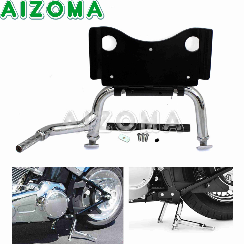 Chrome Adjustable Center Stand With Mounting Hardware Central Support Holder Service Stand For Harley Touring FLH