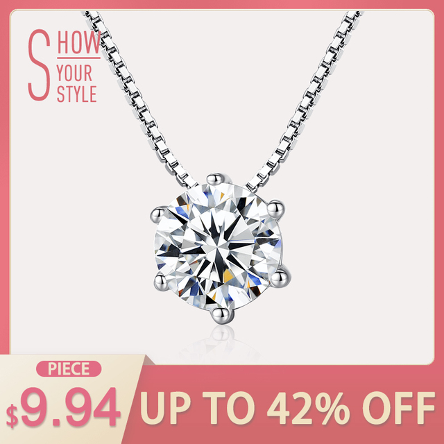 CZCITY Charm Shinning Chain Necklace 1 Carat Six Claws Cubic Zirconia Classic 92