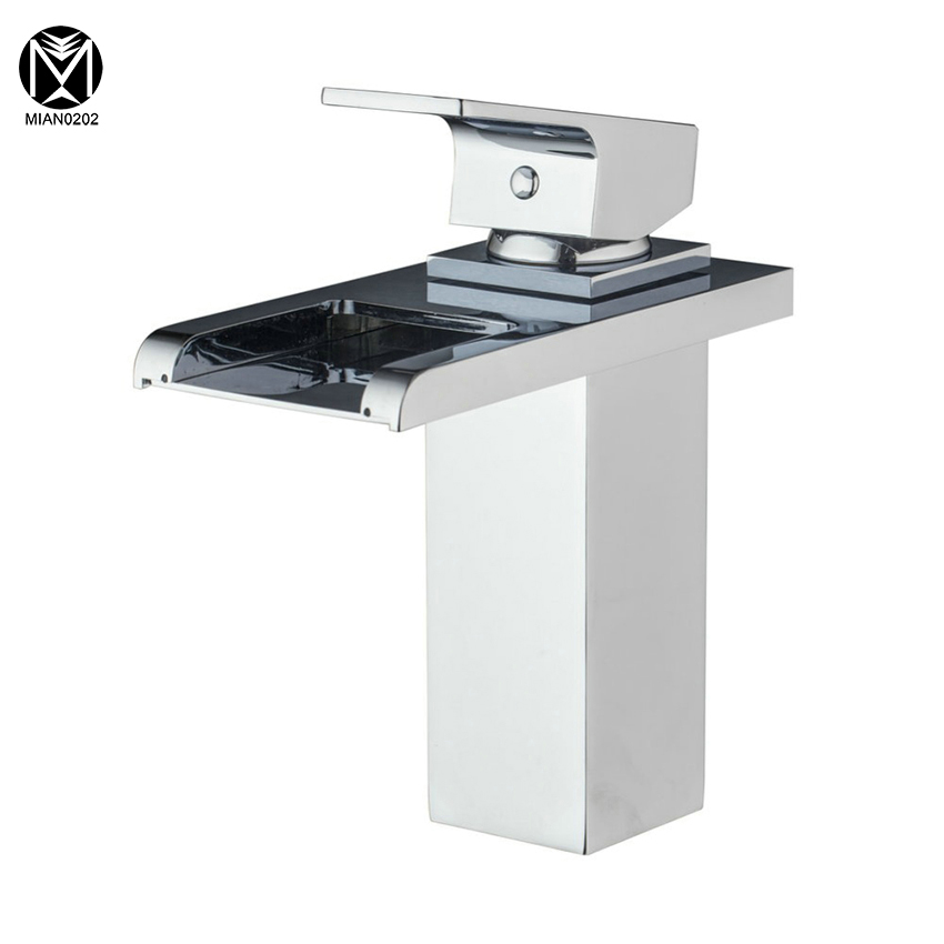 Bathroom Basin Faucet Waterfall Spout Hot/Cold Water Basin Tap Bath Kitchen Wash Basin Single Handle Sink Faucets Mixers &Taps gizero free shipping orange spring kitchen faucet brushed nickle finish single handle hot cold water crane mixing tap gi2069