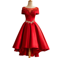 Luxury Red Satin Evening Dress The Bride Married Banquet Boat Neck Crystal Beading Tea length Party Formal Gown