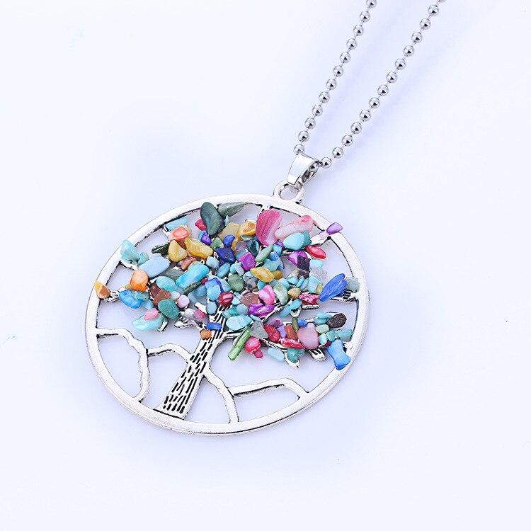 Womens Fashion Natural Stone Chip Tree Pendant Necklace Jewelry Tiger eye Colorful Choke ...