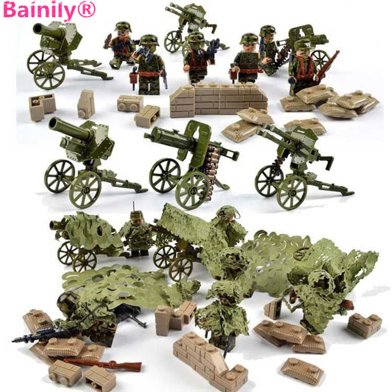 [Bainily]6pcs With many weapons military army soldiers building set blocks best toys for children compatible legoINGly weapon 8 in 1 military ship building blocks toys for boys