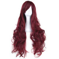 Soowee 20 Colors 80cm Long Curly Women's Hair Wigs Hair Piece Synthetic Hair Burgundy Pink Party Hair Cosplay Wig