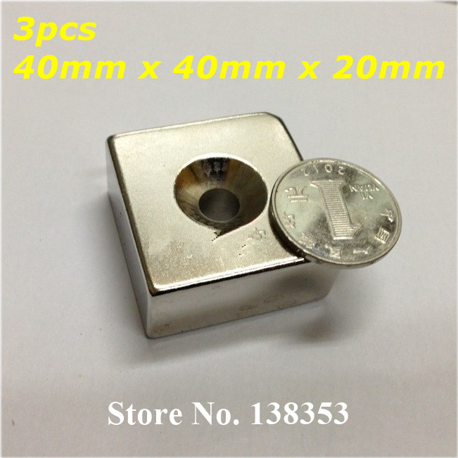Wholesale 3pcs Neodymium Countersunk Block Magnets 40mm x 40mm x 20mm With Single Hole N35 NdFeB Square Cuboid Magnet 2pcs bulk strong ndfeb countersunk block magnets 40mm x 40mm x 20mm with single hole n35 neodymium square cuboid magnet