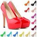 Mujeres Bombas 14 Cm Plataforma A Prueba de agua Colores Del Caramelo Cómodo Usando de La Boda Zapatos de Fiesta de Tamaño 35-42