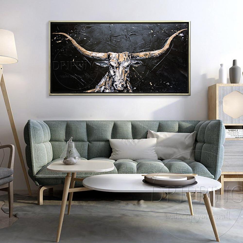 Arte experto pintado a mano alta calidad Texas Longhorns pintura al óleo para decoración de pared pintado a mano aceite de toro americano pintura-in Pintura y caligrafía from Hogar y Mascotas    3