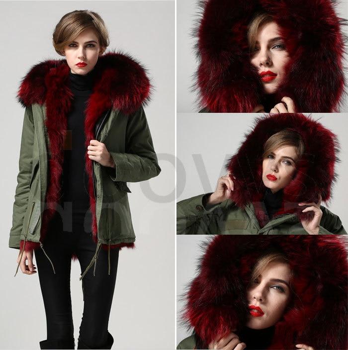 Anggur merah nyata bulu rubah kerah mantel bulu rubah nyata jaket - Pakaian Wanita - Foto 4