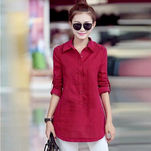 c61df7555bf62 2016 nova primavera moda feminina roupas camisa pólo solto pulôver coreano  camisa e cor sólida camisas