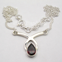Pure Silver Original RED GARNET HANDMADE Necklace 17 1 2 GIFT FOR FRIEND