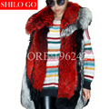 HOT 2017 new winter fashion women high quality whole leather printing spell color large lapel wine red asymmetric fox fur vest