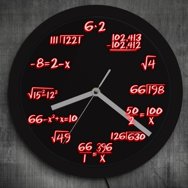 math wall clock with led illumination math formula pop equation
