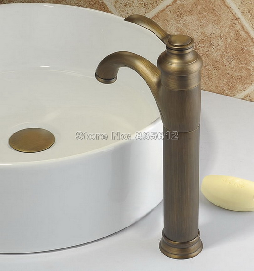 все цены на Single Hole Single Handle Retro Style Vessel Sink Faucet Antique Brass Deck Mounted Bathroom Basin Sink Mixer Taps Wnf020 онлайн