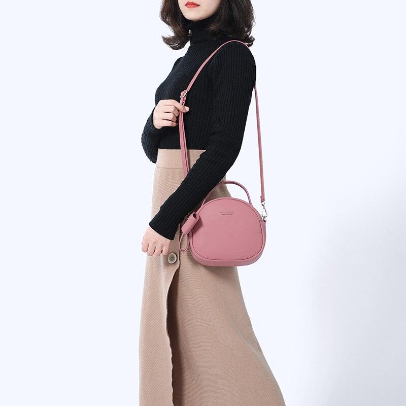 Image 2 - NEW Geometrical Circular Women Shoulder Bag Leather Women's Crossbody Messenger Bags Sac Female Round Bolsa Ladies Handbag Girls-in Shoulder Bags from Luggage & Bags