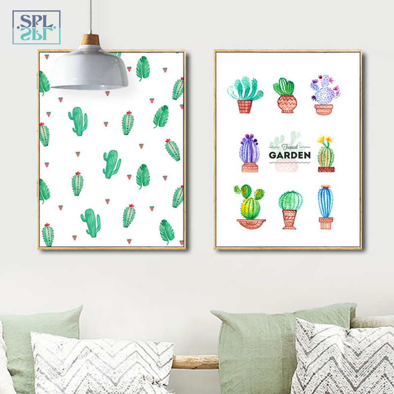 SPLSPL Nordic Style Watercolor Cactus Canvas Art Print Painting Poster, Wall Picture For Home Decoration, Bedroom Ornamentation