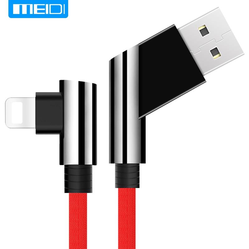 MEIDI Usb-kabel 1 Mt Schnellladung Nylon Kabel 90 Grad Datenkabel Für iphone 5/5 S/6/6 S/6 plus/7/7 plus/ipad/ipod