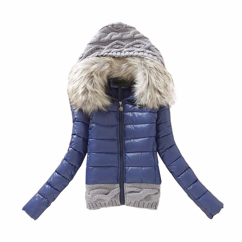 2016 Women Winter Coat Cotton Padded Jacket Short Knitted Hooded Fake Fur Female Warm Wadded Jackets And Coats 2016