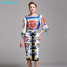 Runway Dresses 2017 Women High Quality Two Piece Set White Flower Floral Print Blouses Shirts + Knee Length Summer Midi Skirts