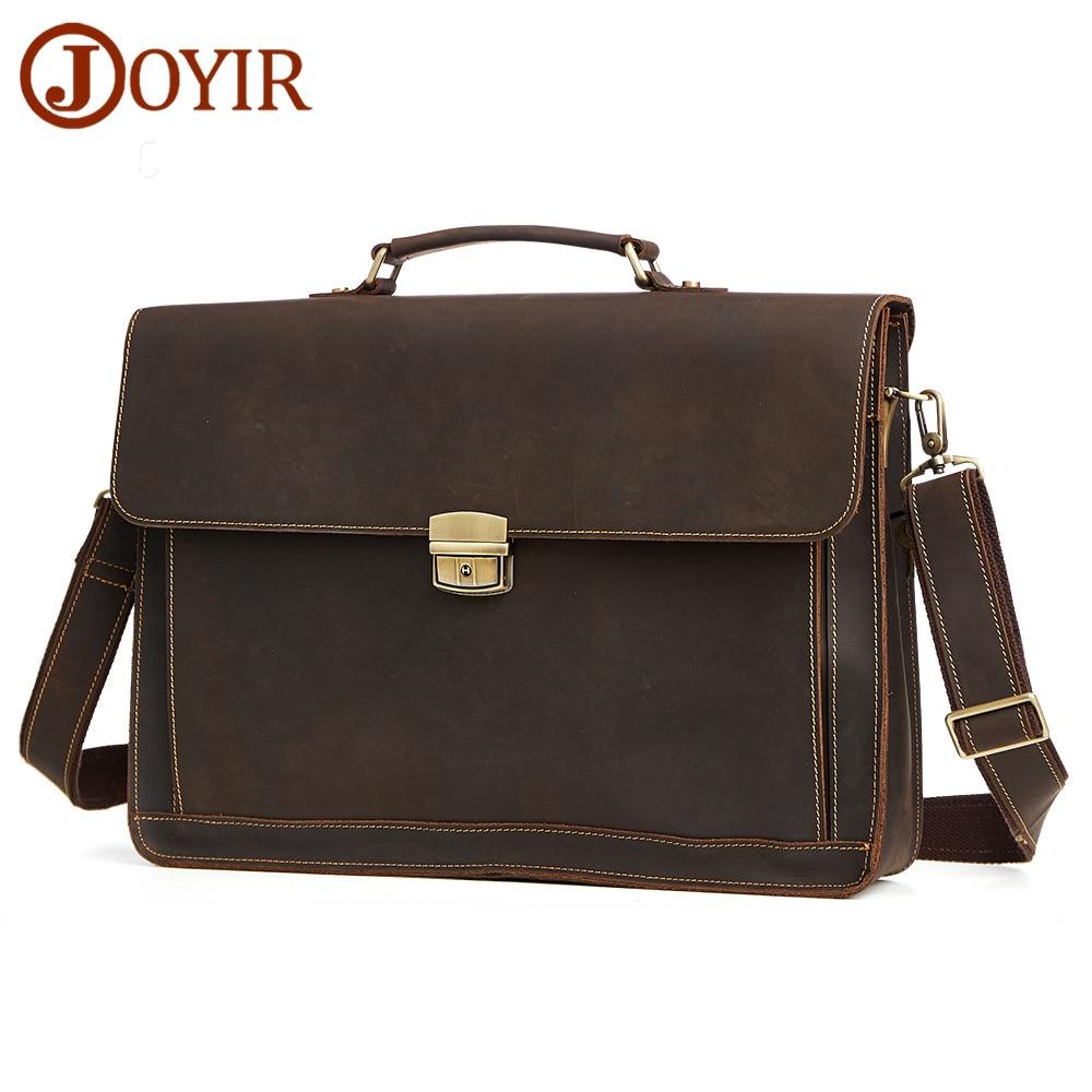 JOYIR Men s Briefcase Vintage Crazy Horse Leather Messenger Shoulder Bag Genuine Leather Handbag Briefcase Leather
