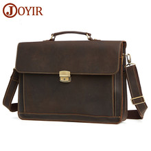 JOYIR Mens Briefcase Vintage Crazy Horse Leather Messenger Shoulder Bag Genuine Handbag Laptop 93