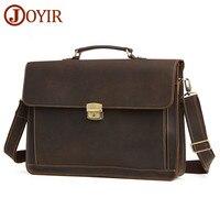 JOYIR Men's Briefcase Vintage Crazy Horse Leather Messenger Shoulder Bag Genuine Leather Handbag Briefcase Leather Laptop Bag 93