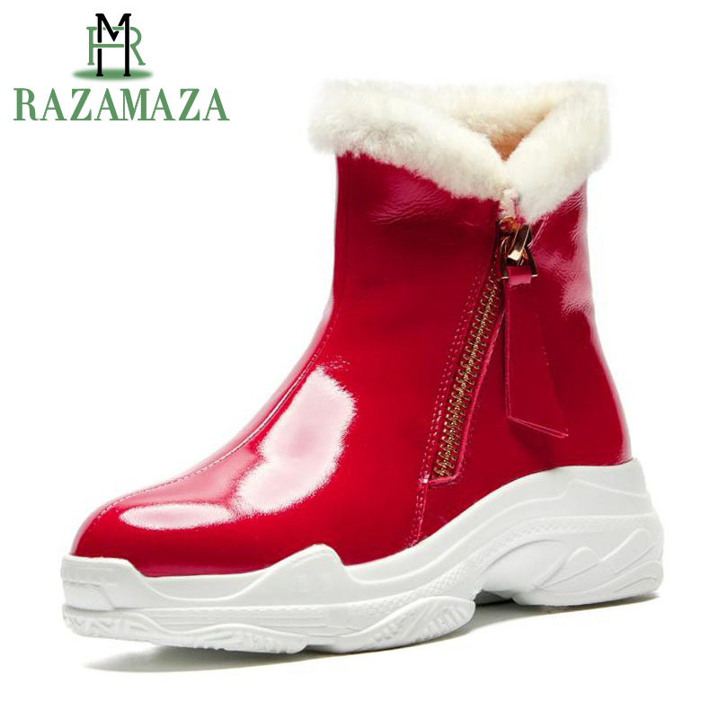 6c0e596b771 Cuero Piel Cálidos Tamaño 41 Mujer Redonda Cuña Negro Razamaza Nieve Botas  Zapatos 34 Felpa Moda Cremallera rojo Genuino Plataforma Punta Tobillo ...