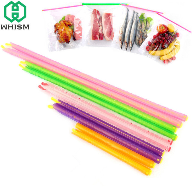 Whism Reusable Plastic Food Bag Sealer Magic Sealing Clips Fresh Lock Seal Stick Household Impulse