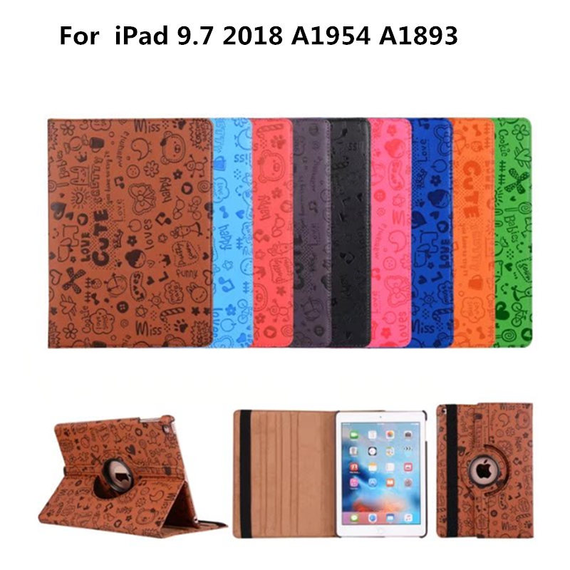 PU Leather Stand Lovely Case Tablet Shell Cases 360 Rotating Cover For New iPad 9.7 inch 2018 A1954 A1893 2017 A1822 A1823 Case