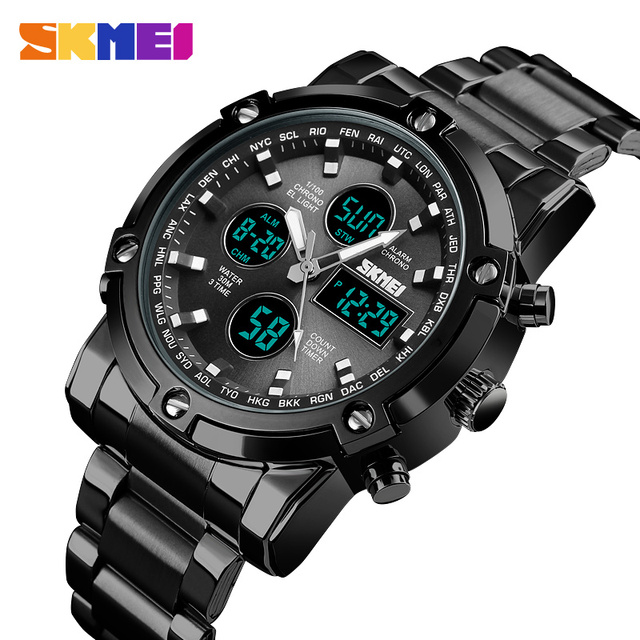 SKMEI Digital Watch Men Fashion Mens Watches Full Steel Business Mens Watch Luxury Male Clock Top Sports Watches Reloj Hombre