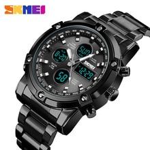 SKMEI цифровые часы мужские, модные, стальные, деловые, Роскошные, спортивные