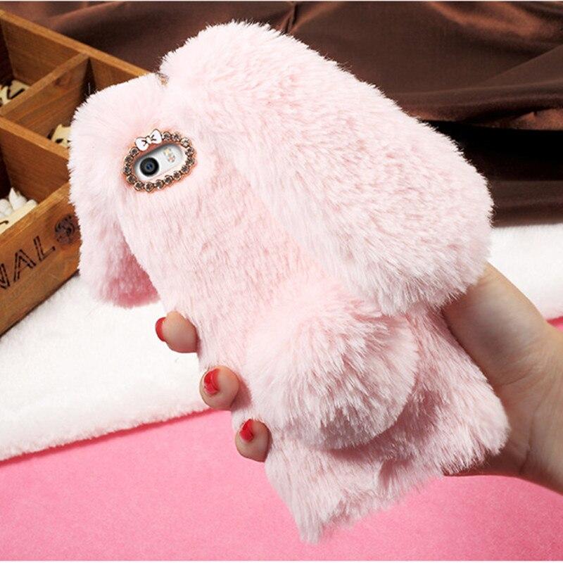 EDWO For Xiaomi Mi 5 6 plus Case Cute Rabbit Ear Ball Fluffy Fur Hair Soft