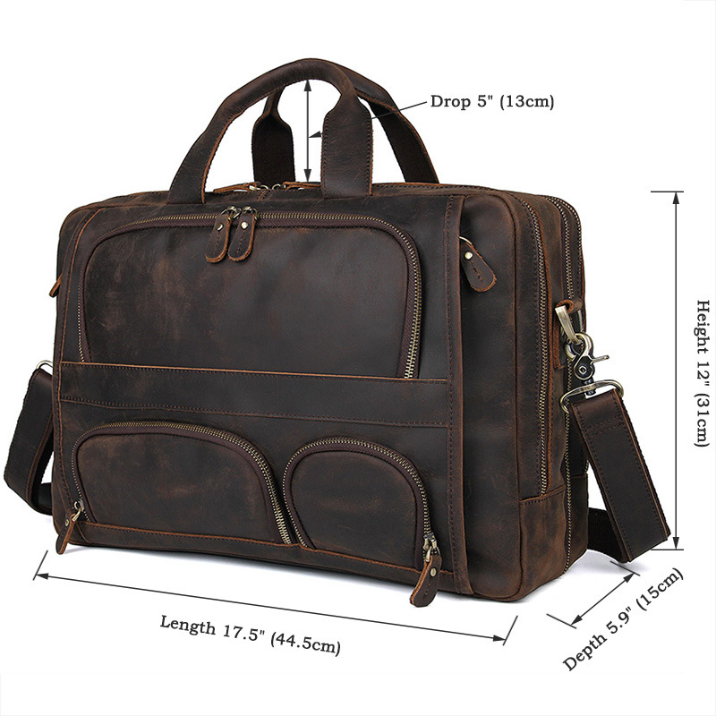 HTB1zGeDQSzqK1RjSZFHq6z3CpXaS MAHEU Vintage Leather Mens Briefcase With Pockets Cowhide Bag On Business Suitcase Crazy Horse Leather Laptop Bags 2019 Design