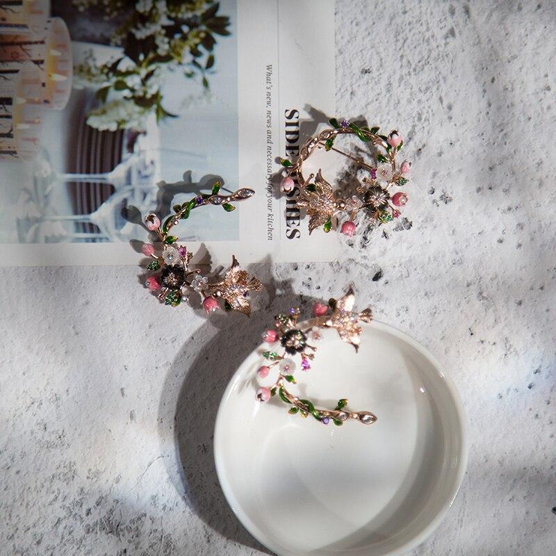 Vanssey مجوهرات الأزياء زهرة الطيور الطبيعية الأم من اللؤلؤ قذيفة المينا زركون هوب أقراط اكسسوارات النساء 2019 جديد-في أقراط أذن من الإكسسوارات والجواهر على  مجموعة 2