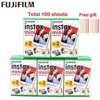 Оригинальная 100 листов Fujifilm Fuji Instax Mini белая пленка мгновенная фотобумага для Instax Mini 8 9 70 25 камера SP-1 2 + Бесплатный подарок