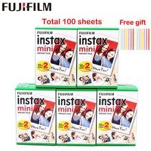 Original 100 folhas fujifilm fuji instax mini filme branco papel fotográfico instantâneo para instax mini 11 7s 8 9 70 25 câmera SP 1 2
