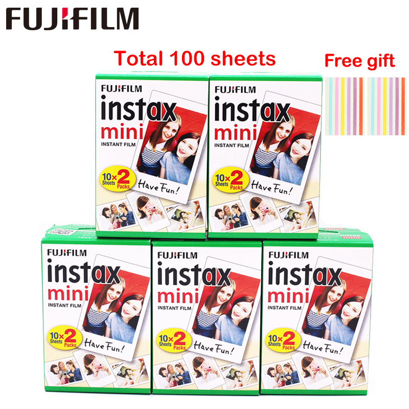 Original 100 hojas Fujifilm Fuji Instax Mini película blanca papel fotográfico instantáneo para Instax Mini 8 9 70 25 Cámara SP-1 2 + regalo gratis