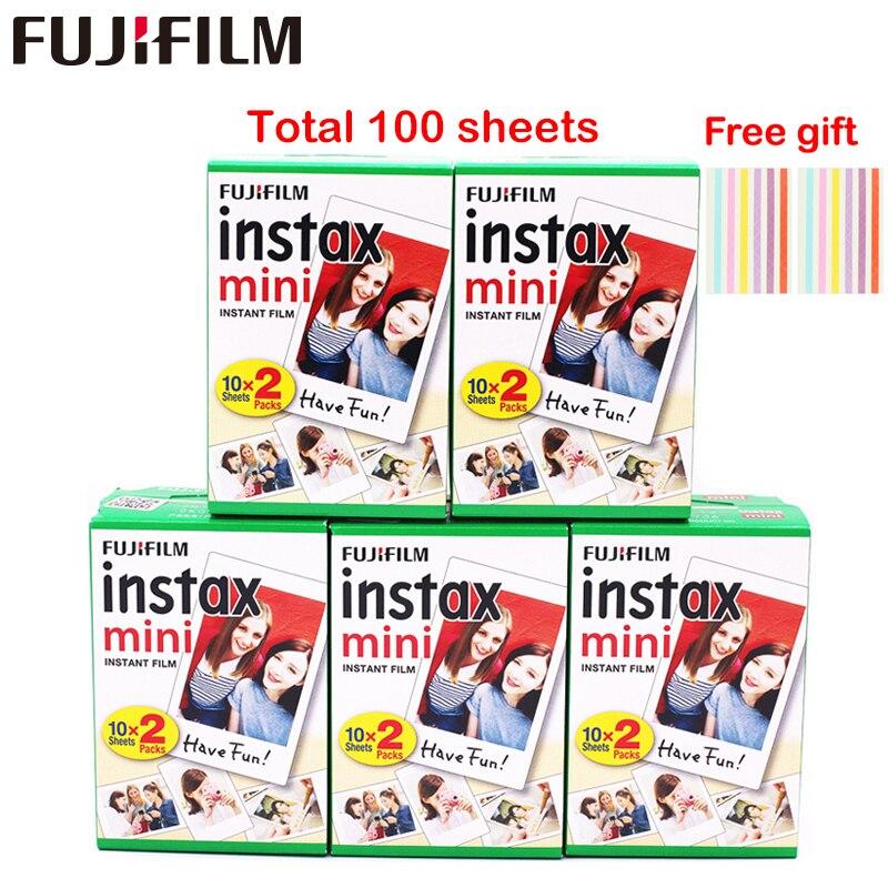 Original 100 hojas Fujifilm Fuji instax mini película blanca papel fotográfico instantáneo para instax mini 8 9 70 25 Cámara SP-1 2 + regalo libre