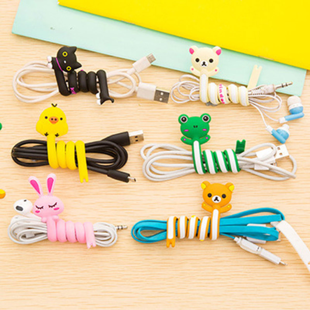 Cartoon Cable Winder Wire Ties Computer Earphone Cable Wire Organizer Holder Winding PC  Clip At Random 1 PC