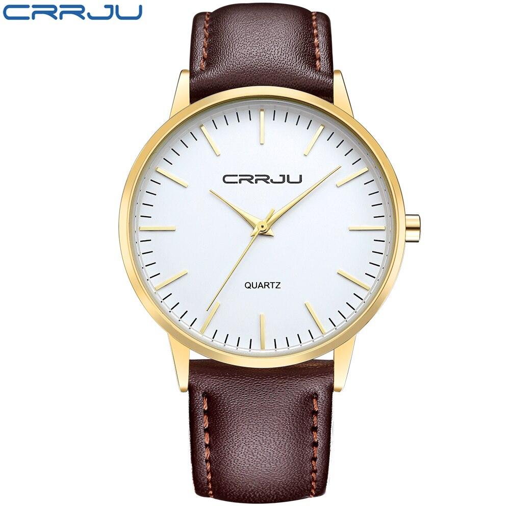 luxury brand crrju watches ultra thin genuine leather