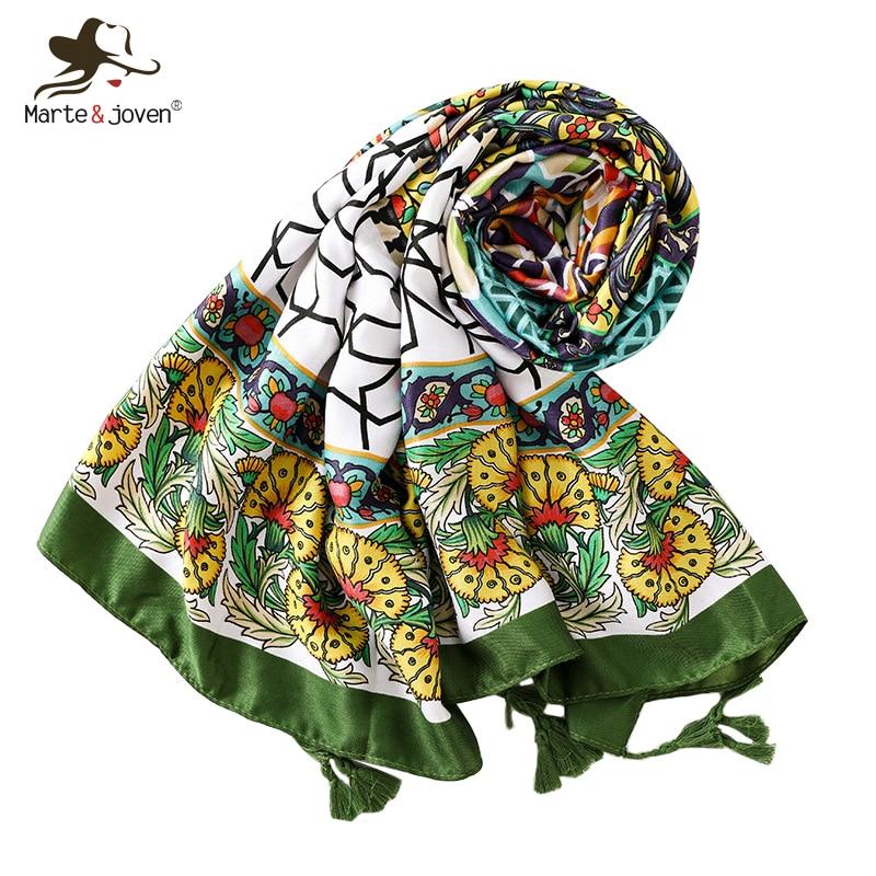 Marte&Joven Novelty Flower Print Green Tassel Scarf Women Elegant Geometric Sunscreen Pashmina Wraps For Ladies Oversize Shawl