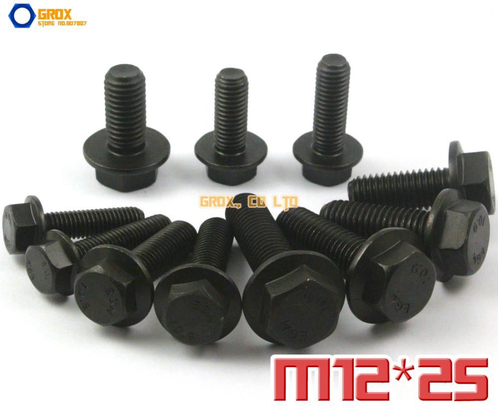 5 Stücke M12 x 25mm 10,9 Grad Legierter Stahl Flansch Sechskantschraube Flansch Sechskantschraube
