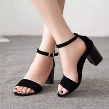 Summer new wave of European leg buckle sandals Roman shoes with high heels open toe sexy female thick women's shoes