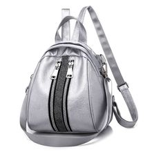 2019 New Fashion PU Leather Silver Black Backpacks for Teenage Girls Female School Shoulder Bag Backpack female fashion black pu leather backpack with little bear doll pink plaid backpacks for adolescent girls women casual small bag