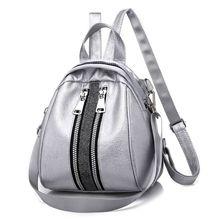 2019 New Fashion PU Leather Silver Black Backpacks for Teenage Girls Female School Shoulder Bag Backpack
