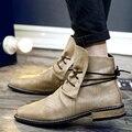 2016 Кожа Мужчины Сапоги, бренд Мужской Ботильоны, повседневная Натуральная Кожа Дизайн Ковбойские Сапоги, мужская Обувь