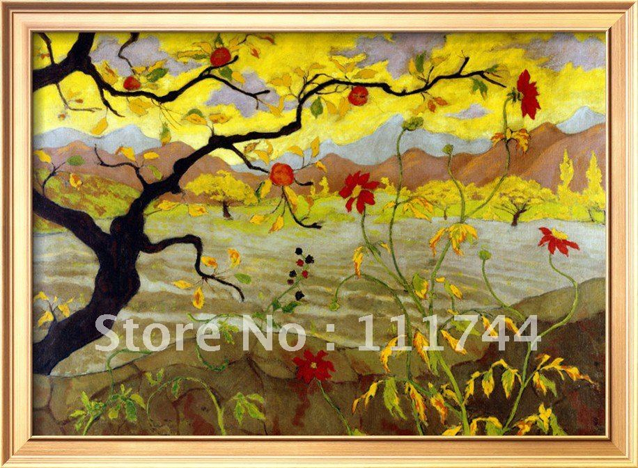 Modern Art Landscape Canvas Painting Apple Tree With Red