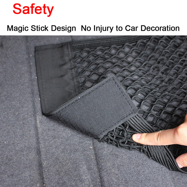 Car Back Rear Trunk Seat Elastic String Net Magic Sticker Mesh Storage Bag Pocket Cage Auto Organizer Seat Back Bag 40*25cm