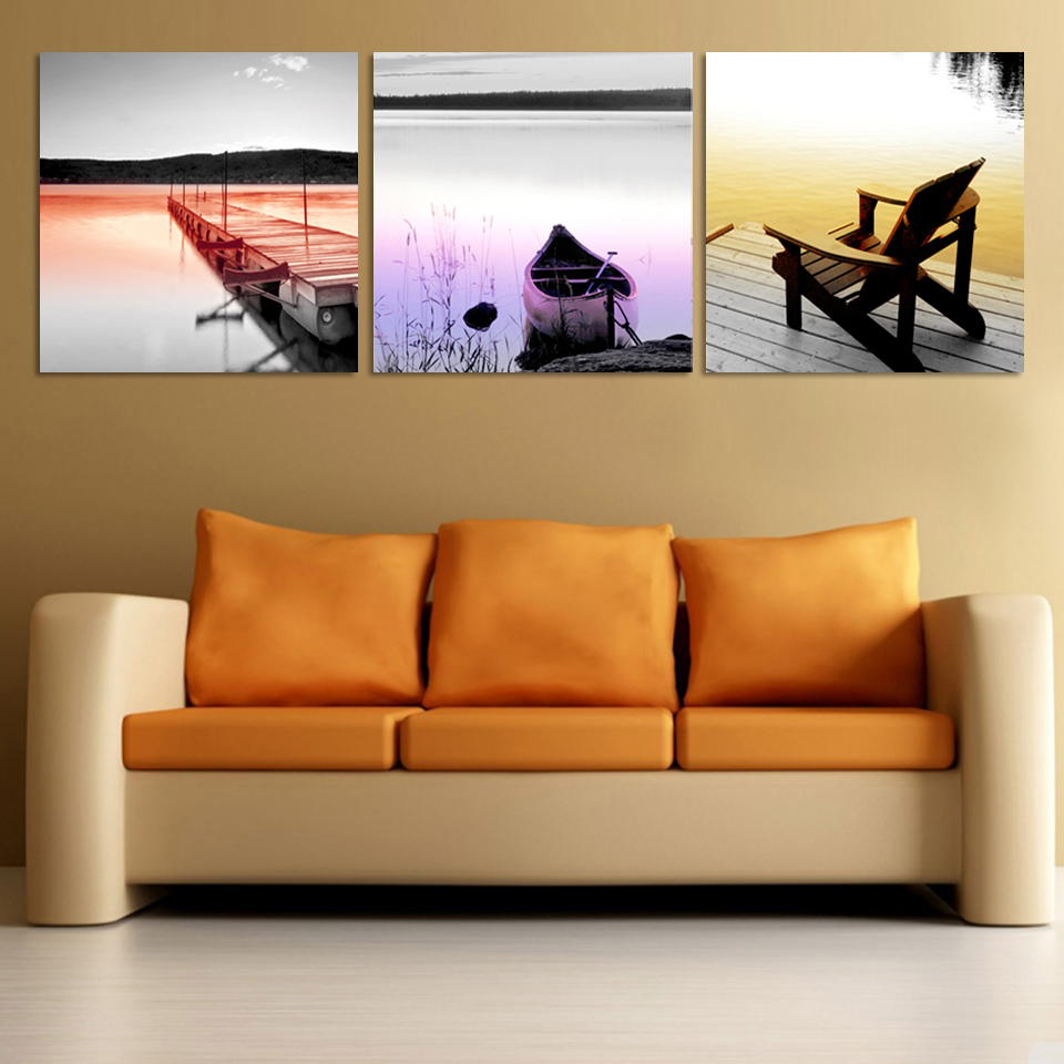 online get cheap modern art pics aliexpresscom  alibaba group - modern wall art decor  panels canvas painting seascape wooden bridge boatand chair wall pic for living room study room f