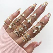 17 Pcs/Set Bohemian Women Rings Anise Star Crown Cross Snake Drops Geometry Crystal Joint Gold Ring Set Lady Wedding Jewelry